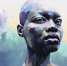 Artist: Sarah Danes Uses an analogous color scheme with blues and purples. African American Art, African Art, Figure Painting, Painting & Drawing, Painting Abstract, Acrylic Paintings, Acrylic Portrait Painting, Art Watercolor, Guache