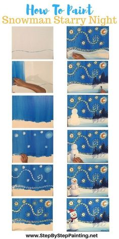 How To Paint Snowman Starry Night - Tracie's Acrylic Canvas Tutorials. Step by step painting for the absolute beginner of all ages. FREE tutorial! #snowmanpainting #stepbysteppainting #starrynight #paintingtutorialsforbeginners by kay