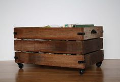 tutorial for a crate on casters, could be adapted for under bed storage drawers.  includes reclaimed wood version and sleek mdf version.