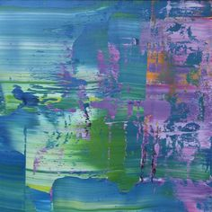 Koen Lybaert... blue purple abstract oil painting on canvas on wood panel.