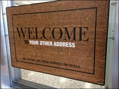 A creative extension of Post Office Box as your other address, this vertically-hung, faux Welcome Mat promotes the service in… Welcome Mats, Signage, Menu Boards, United States, Retail, Brown, Color, Colour, Retail Merchandising