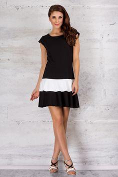 Awama M062 Sukienka - czarno-biała
