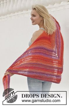 "Knitted DROPS shawl in garter st with dropped sts in ""Big Delight"". ~ DROPS Design"