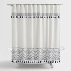 Indigo And White Tribal Zanzibar Shower Curtain V1 Stylish Shower Curtain Boho Shower Curtain Bathroom Shower Curtains