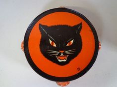 Vintage Halloween Noisemaker ~ Tin Tambourine Black Cat