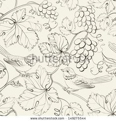 Illustration of Bird and grape, seamless pattern. vector art, clipart and stock vectors. Vector Design, Vector Art, Bird Patterns, China Painting, Tile Art, Colouring Pages, Fabric Painting, Islamic Art, Illustration