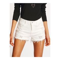 SheIn(sheinside) White Ripped Frayed Denim Shorts (€14) ❤ liked on Polyvore featuring shorts, white, distressed shorts, jean shorts, frayed jean shorts, frayed shorts and destroyed denim shorts
