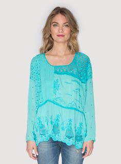 Johnny Was Collection Mix Quilt Tunic Top in Aqua Jade Turquoise