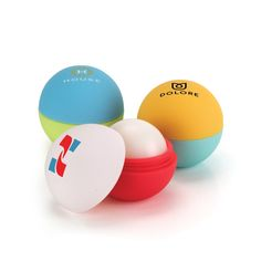 169 color combinations! Custom Combination Rubber Lip Balm Ball.  Love this.  2017's Best Trade Show Giveaways. Made in the USA -- Natural Beeswax Lip Balm -- Domed construction -- 14 grams of Vanilla flavored lip balm #tradeshow giveaways