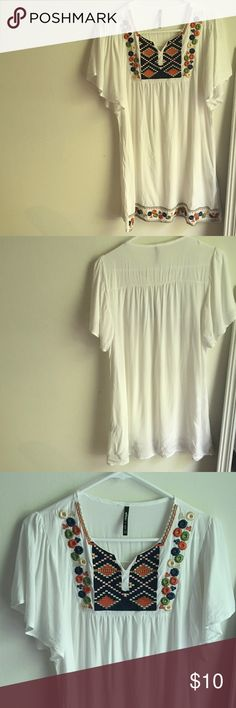 Bohemian summer dress White bohemian summer dress. Sheer, so you will need a slip! Only worn once! Dresses Mini