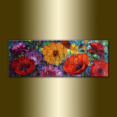 Poppies Floral Canvas Modern Flower Oil Painting Poppy Fields Textured Palette Knife Original Art 15X40 by Willson Lau