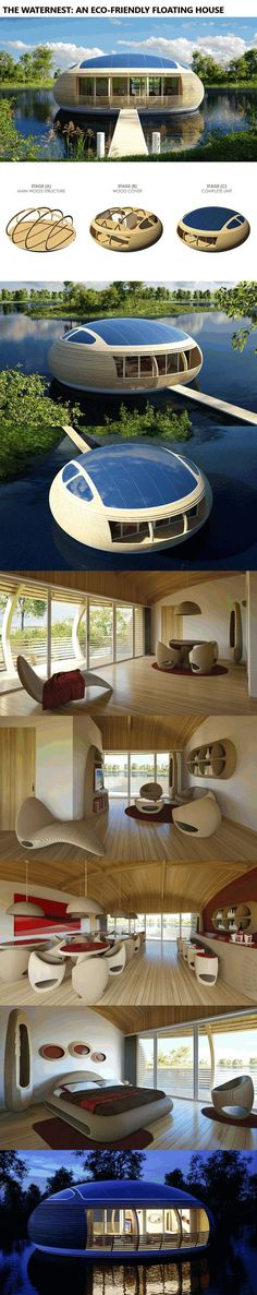 The WaterNest: An Eco-Friendly Floating House www.alternative-e… cool The WaterNest: An Eco-Friendly Floating House www.alternative-e. Read More by jakobkovesen. Futuristic Architecture, Amazing Architecture, Interior Architecture, Interior And Exterior, Interior Modern, Unusual Homes, Floating House, Eco Friendly House, Prefab