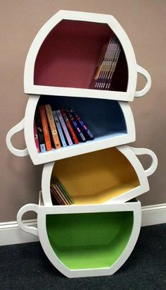 Wood bookshelves by Scott Blackwell. Very cool bookshelves for kids rooms.Seuss bookshelf, stacked Teacups bookcase, dragon themed bookshelf and many other awesome childrens bookshelves! Creative Bookshelves, Bookshelf Ideas, Bookshelf Design, Hanging Bookshelves, Cool Kids Rooms, Book Nooks, Tea Cups, Coffee Cups, Coffee Plant