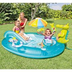 Inflatable Play Center Kids Slide Outdoor Summer Pool Water Backyard Fun Intex #Intex