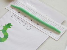 """Play Dough Inch Worms- Preschool- This activity is based off the book, """"Inch By Inch"""" by Leo Lionni. Children can create their own worms out of play dough then measure how long it is with the ruler."""