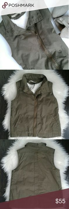 Max Jeans military style vest Perfect choice for those chilly mornings when you need an extra layer. Full zip and snap closure, faux-shearling. Size: S but fits both M and S New with tag Max Jeans  Jackets & Coats Vests
