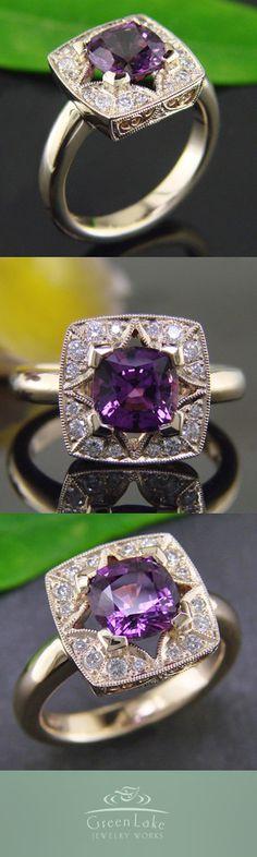 14K yellow gold custom star halo ring with bead-set diamonds and a stunning cushion-cut natural purple sapphire.