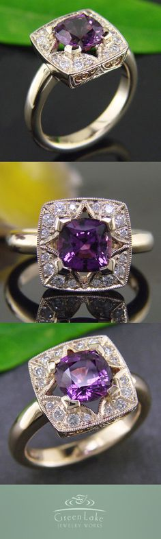 14K yellow gold custom star halo ring with bead-set diamonds and a stunning cushion-cut natural purple sapphire.