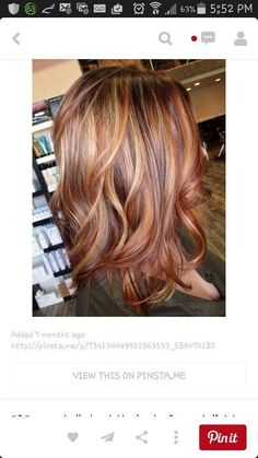 Red caramel and blonde highlights