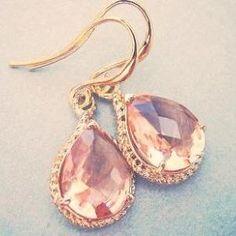 Rosaline, Peach, Champagne Earrings