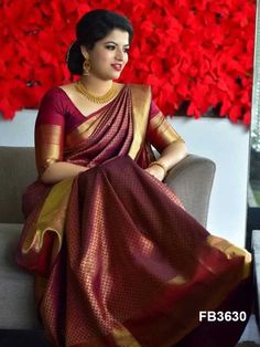 10 Latest Maroon Saree Blouse Designs to Try Bridal Sarees South Indian, South Indian Wedding Saree, Wedding Silk Saree, Indian Bridal Fashion, Kanjivaram Sarees Silk, Indian Silk Sarees, Soft Silk Sarees, Indian Lengha, Silk Sarees With Price