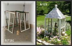 My garden cupola :: Hometalk -- old windows + plastic ceiling tile