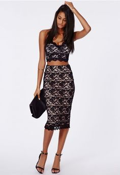 Ali Scallop Hem Lace Midi Skirt Black - Skirts - Missguided