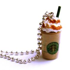Totally want this! Lol  Coffee Necklace  Miniature Frapp by kawaiidesune on Etsy, $16.00