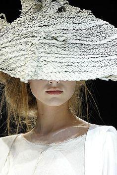 Yohji Yamamoto woven white bell hat