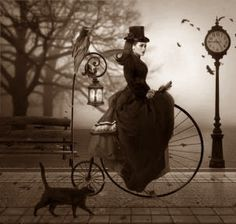 18th century witch on a Penny Farthing love this one a classic witch