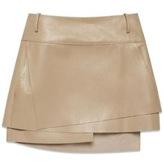Pre-owned Helmut Lang Nude Lamb Leather Sz 2 Skirt (€295) ❤ liked on Polyvore featuring skirts, mini skirts, none, long wrap skirt, long brown skirt, tiered skirt, short wrap skirt e mini skirt