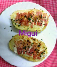 http://lacocinademiguiyfamilia.blogspot.com.es/2013/09/patatas-con-queso-untado-y-beicon.html#links