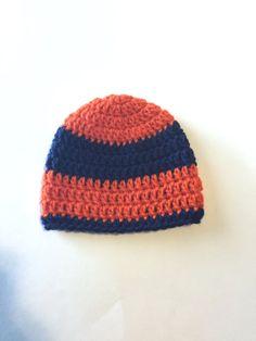 Blue & Orange Striped Hat  Newborn Crochet Hat by SmittenInAMitten