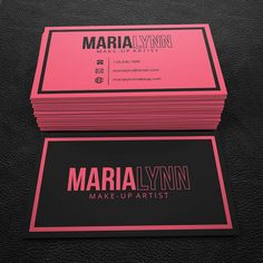 Premade Business Card Design - Print Ready - Printable Business Card -  Pink and Black  - PDF & JPEG - 300 DPI