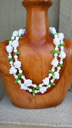 """Vintage Tropical Hawaiian Flower Yellow & White Lucite Plastic Long 36"""" Lei Luau Garland Necklace Bride Wedding Retro Jewelry Jewellery by TheFoxandFilly on Etsy"""