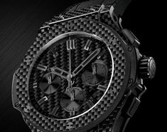 """Swiss luxury watchmaker Hublot's newest creation – the Big Bang """"All Black Carbon."""" The entire watch case is composed of advanced carbon fiber. Lux Watches, Hublot Watches, Luxury Watches For Men, Swiss Made Watches, Carbon Black, Watch Brands, Bigbang, Carbon Fiber, All Black"""
