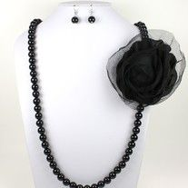 """Beaded And Tulle Flower Necklace With Earrings  Necklace Approx 15"""" Long"""
