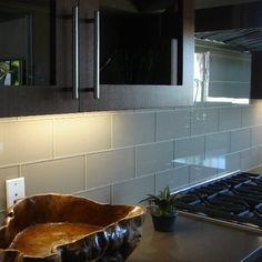 Subway Tile - Glass (example of clear) for backsplash