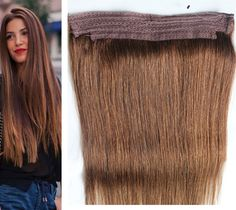 Durable Remy Human Hair Weave Color 4 Chocolate Flip In Halo Extensions