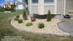 Front yard landscape bed redesign, new plants Somerset, MA Stone Landscaping, Landscaping With Rocks, Front Yard Landscaping, Garden Design Pictures, Rock Garden Design, Stone Front House, Rock Wall Gardens, Yard Stones, Yard Drainage