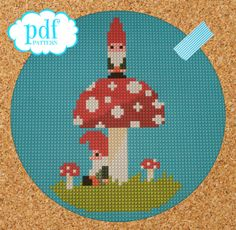 A Couple of Gnomes cross stitch needlepoint by cupcakecutie1, $5.00
