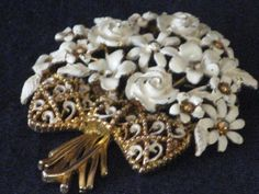 White Enamel Floral Bouquet Brooch Gold-tone by RicksVintagePlus