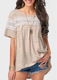 AdoreWe - unsigned Round Neck Short Sleeve Lace Panel T Shirt - AdoreWe.com