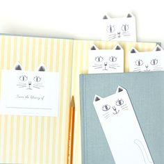 [free printable] DIY Cat Bookplates & Library Cards. Nameplates and loan records for your home library books! Matching bookmarks in previous pin. Leave black and white or color them in! Great for kids too.