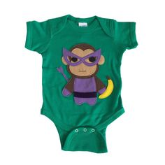 Super Hero Onesie -Team Super Animals - Monkey Banana Green Infant Bodysuit - Baby Clothes Gift