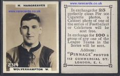 A rare high number Pinnace 1923 tobacco card, a rookie of Hargreaves, of Wolverhampton Wanderers, The Wolves. It's so easy to have this right now. Just click below. Worldwide postage is included  https://www.paypal.me/rarecards/33.14 #Wolves Pinnace K high number 2314 H Hargreaves Wolverhampton Wanderers frameline 1923 Godfrey Phillips football rookie card soccercard cigar#wolves#Wolverhampton Wanderers#pinnace high number#2314#hargreaves