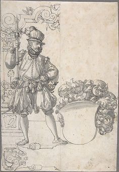 Design for Stained Glass: A Halbardier by an Unfinished Coat of Arms