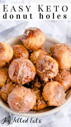Keto Donut Holes - Low Carb, Gluten-Free, Grain-Free, THM S - I have the perfect solution for your sweet breakfast treat cravings! These moist, soft keto donut holes are seriously the best thing ever. Sweet Breakfast, Low Carb Breakfast, Breakfast Recipes, Breakfast Casserole, Breakfast Gravy, Breakfast Hash, Breakfast Options, Breakfast Cookies, Low Carb Keto