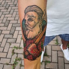 Tatuagem criada por Torreão André de São Paulo. Lenhador old school.