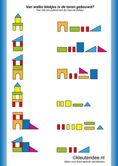 Kindergarten math - Van welke blokjes is de toren gebouwd, kleuteridee nl ,of which blocks the tower was built, free printable Preschool Worksheets, Preschool Learning, Kindergarten Math, Learning Activities, Preschool Activities, Teaching, Visual Motor Activities, Visual Perception Activities, Block Center